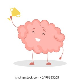 Pink brain character, happy sticker win. Cute funny human organ. Bright comic element. Isolated vector illustration in flat style