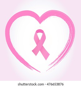 Pink breast cancer awareness ribbon on heart vector.