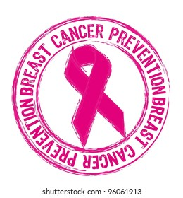 pink breast cancer prevention stamp isolated over white background. vector