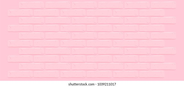 Pink brick wall texture.Cracked empty background. Grunge sweet wallpaper. Vintage stonewall. Room baby girl design interior. Princess surface for decoration. Backdrop for cafe, nursery. Illustration