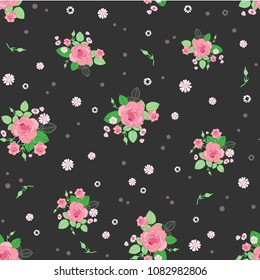 Pink brown roses ditsy vintage seamless pattern. Great for retro summer fabric, scrapbooking, giftwrap, and wallpaper design projects. Surface pattern design.