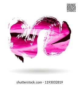 Pink brush stroke and texture. Grunge vector abstract hand - painted element. Underline and border design.