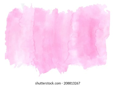 Pink brush watercolor background. Illustration made in a vector.