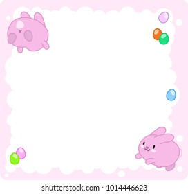 Pink bunnies jumping in cloud with easter eggs decoration (template with empty space for text)