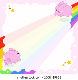 Pink bunnies jumping on rainbow with stars and hearts on cloud shape (empty template for text)