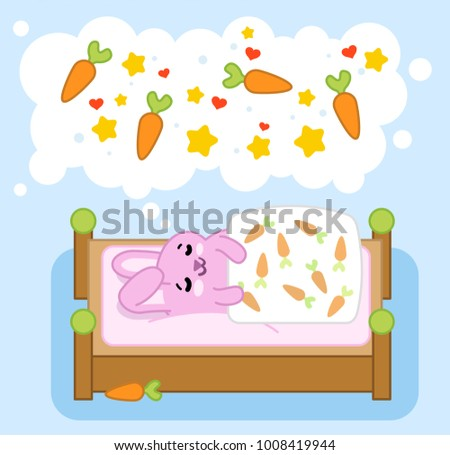 Pink bunny sleeping and dreaming of carrots, stars and hearts in think bubble (vector cartoon)