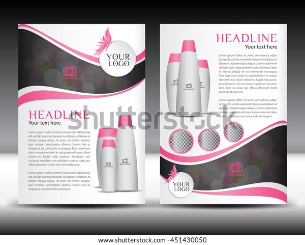 Pink business brochure flyer template design newsletter magazine ads cosmetics, advertisement, leaflet, poster, annual report, cover, booklet