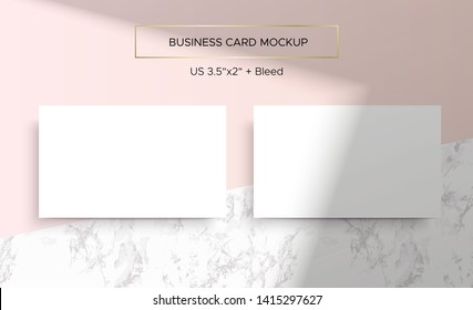 Pink Business card Mockup. Natural lighting overlay shadows. Realistic vector illustration. Scene shadows from the window. Business cards 3.5x2 inch. Minimal and clean layout and marble background.