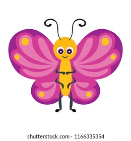 Pink Butterfly isolated on white background. Funny cute cartoon character. Vector illustration in a flat style.