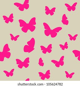 Pink butterfly on beige background. Seamless pattern. Vector