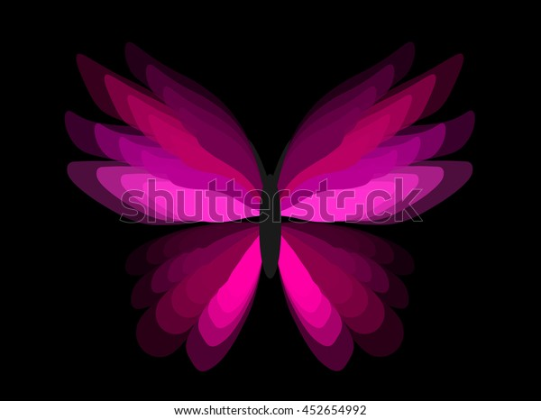 Pink Butterfly On Black Background Stock Vector Royalty Free 452654992