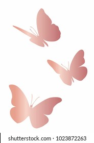 pink butterfly vector rose gold foil gradient