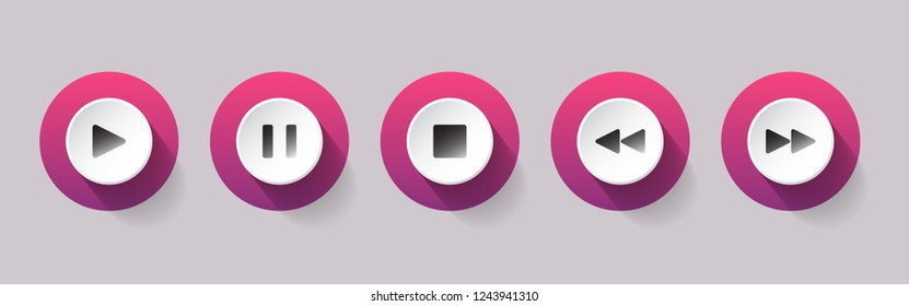 Pink buttons for music playback vector illustration on white background