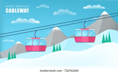 Pink cable cars moving above the ground against winter landscape with ski slope covered with snow, trees and mountains on background. Cableway or aerial lift. Colorful cartoon vector illustration.