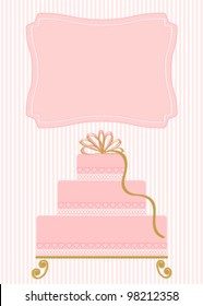 Pink cake on pink stripe background for invitation or announcement