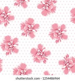 Pink camelia flowers seamless pattern. Tree petals bloom blossom. Female feminine girlish style. Polka dot background. Vector illustration for fashion, fabric, textlile, decoration.