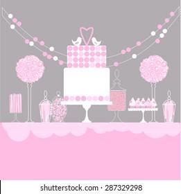 Pink candy table, dessert bar. Vector Illustration