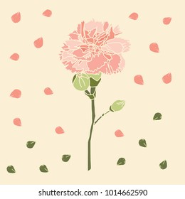 pink carnation pattern.yellow background. Vintage vector illustration, eps 10