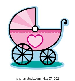 Pink carriage buggy for baby girl
