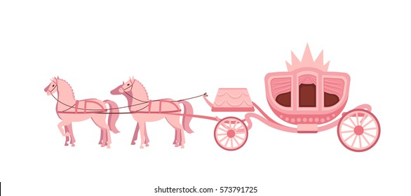 Pink carriage drawn by four horses on white background. Vector flat illustration.