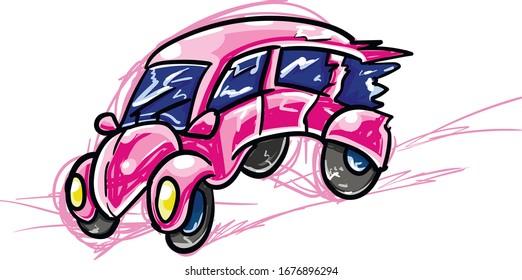 Pink cartoon lady car rides very fast