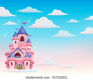 Pink castle in clouds theme 1 - eps10 vector illustration.