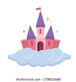 Pink castle flying on the cloud and sparkling. House for princess. Kindom in fairytale. Flat vector illustration.