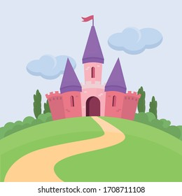 Pink castle on the green hill. House for princess. Kindom in fairytale. Flat vector illustration.