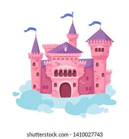 Pink castle in the sky standing on a cloud. On a white background. The magical palace of the princess. Vector illustration in cartoon style.