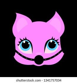 Pink cat BDSM, black background, gag mouth, vector