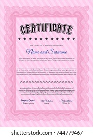 Pink Certificate of achievement. With complex linear background. Cordial design. Detailed.