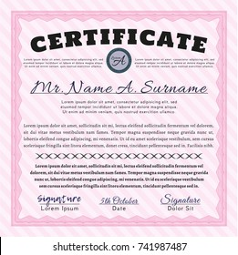 Pink Certificate of achievement template. With guilloche pattern and background. Vector illustration. Excellent design.