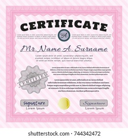 Preschool kids diploma certificate design elementary stock vector pink certificate of achievement template money style design vector illustration with guilloche pattern yadclub Images