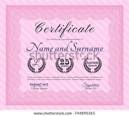 Pink Certificate Achievement Template Money Style Stock Vector