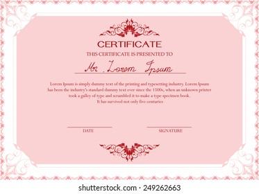 Pink certificate design template