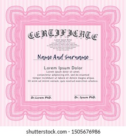 Pink Certificate diploma or award template. Beauty design. With great quality guilloche pattern. Detailed.