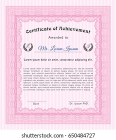 Pink Certificate diploma or award template. With guilloche pattern and background. Vector illustration. Perfect design.