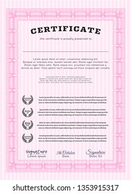 Pink Certificate or diploma template. Retro design. Vector illustration. With quality background.