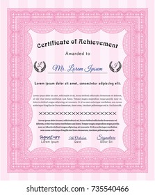 Pink Certificate. Sophisticated design. Vector illustration. Printer friendly.
