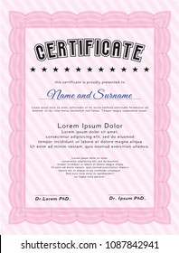 Pink Certificate template. Cordial design. Vector illustration. With great quality guilloche pattern.