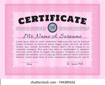 Pink Certificate template or diploma template. Lovely design. Vector illustration. With background.