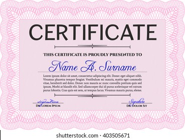 Pink Certificate template or diploma template. Vector pattern that is used in currency and diplomas.Complex background. Superior design.