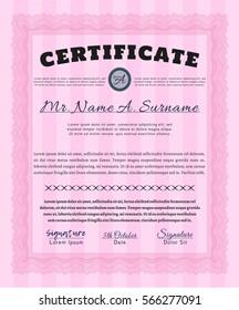 Pink Certificate. Vector illustration. Complex background. Artistry design.