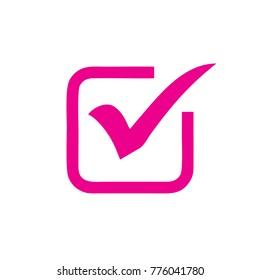 pink check mark in box symbol