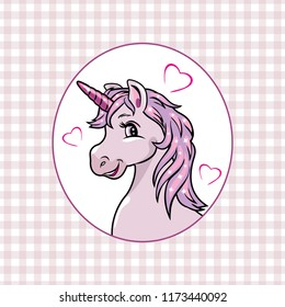 Pink checkered background with a happy unicorn in frame. Vector