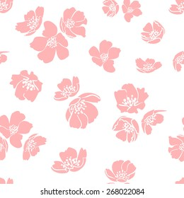 Pink cherry blossom. Lovely seamless pattern for your design. Spring mood background. Vector illustration.