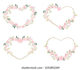 pink cherry blossom or sakura heart wreath frame for valentine banner