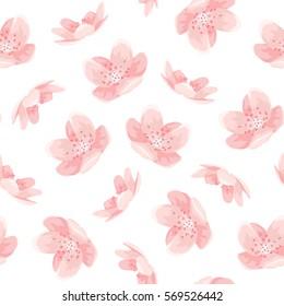 Pink cherry sakura japanese spring flowers seamless pattern. Tree bloom blossom. Feminine girlish style mood. Vector design illustration.