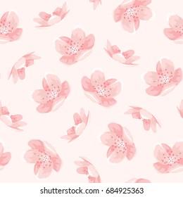 Pink cherry sakura japanese spring flowers seamless pattern. Tree bloom blossom. Feminine girlish style mood. Vector design illustration. PInk background.