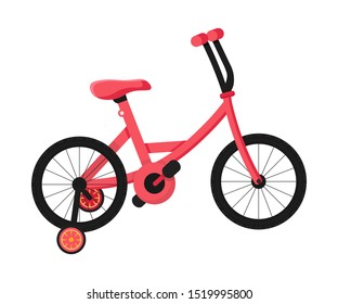 Pink children's bicycle flat cartoon color vector illustration. Bike for kids cartoon clipart. Equipment for outdoor activity 3D isolated design element. Eco transport. Environment protection